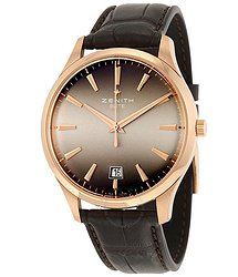 Zenith Captain Central Second Grey Dial Brown Leather Men's Watch