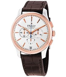 Zenith Captain Chronograph Silver Dial Brown Leather Men's Watch
