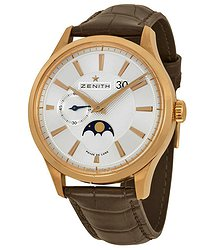 Zenith Captain Moonphase Silver Dial 18kt Rose Gold Brown Leather Men's Watch 18214069102C498