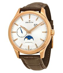 Zenith Captain Moonphase Silver Dial 18kt Rose Gold Men's Watch 18214369101C498