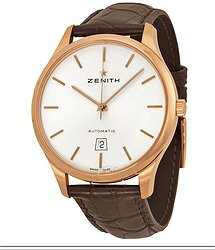 Zenith Captain Port Royal Silver Dial Brown Alligator Men's Watch