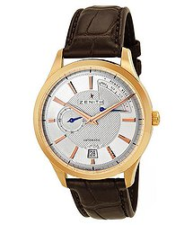 Zenith Captain Power Reserve Silver Dial 18kt Rose Gold Black Leather Men's Watch 18212068502C498