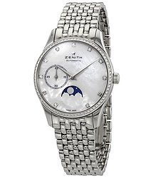 Zenith Captain Ultra Thin Mother of Pearl Dial Moonphase Ladies Watch 16231069281M2310