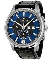 Zenith Captain Winsor Automatic Chronograph Black and Blue Dial Black Leather Men's Watch 032070405422C708