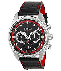 Zenith El Primero 36000 VPH Black Dial Black Leather Men's Watch