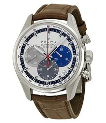 Zenith El Primero 36000 VPH Slver Dial Brown leather Men's Watch