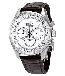 Zenith El Primero Chronograph White Dial Brown Leather Men's Watch 03208040001C49