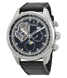 Zenith El Primero Chronomaster Open Grande Black Dial Black Leather Men's Watch