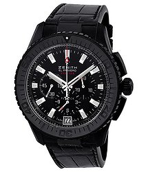 Zenith El Primero Stratos Fly Back Black Dial Alligator Leather Men's Watch