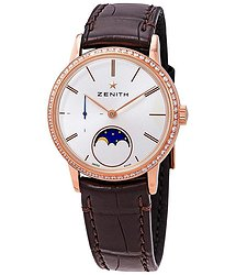 Zenith Elite Lady Automatic Moonphase 18kt Rose Gold Diamond Silver Dial Ladies Watch
