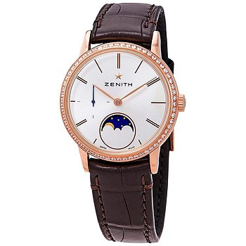 Купить часы Zenith Elite Lady Automatic Moonphase 18kt Rose Gold Diamond Silver Dial Ladies Watch  в ломбарде швейцарских часов