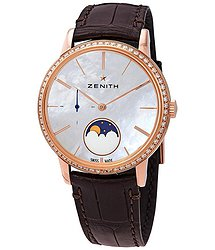 Zenith Elite Lady Automatic Moonphase Diamond White Mother of Pearl Dial Ladies Watch