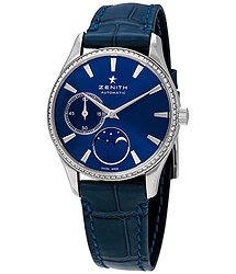 Zenith Elite Ultra Thin Lady Moonphase Blue Dial Diamond Automatic Watch