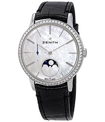 Zenith Elite White Mother of Pearl Dial Ladies Diamond Watch