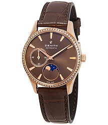 Zenith Heritage 18kt Rose Gold Automatic Brown Moonphases Dial Ladies Watch