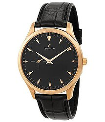 Zenith Heritage Ultra Thin Black Dial 18kt Rose Gold Black Leather Men's Watch 18201068121C493