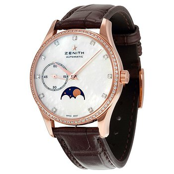 Купить часы Zenith Heritage Ultra Thin Moonphase 18kt Rose Gold Automatic Mother of Pearl Dial Ladies Watch  в ломбарде швейцарских часов