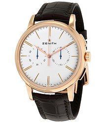 Zenith Pilot Elite Chronograph Silver Dial 18kt Rose Gold Brown Alligator Leather Men's Watch