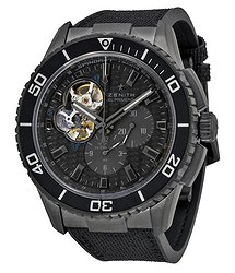 Zenith Stratos Spindrift Chronograph Carbon Fiber Dial Fabric-Covered Rubber Men's Watch 752060406121R573