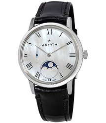 Zenith Ultra Thin Lady Moonphase Automatic White Mother of Pearl Dial Ladies Watch